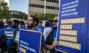 Members of criminal justice, disability rights, and immigration organizations announce a class-action lawsuit filed on behalf of thousands of people in Ice detention centers, outside the Royal Federal courthouse in Los Angeles on Monday.