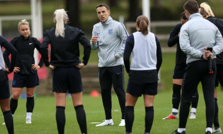 Phil Neville with the England Women's team at St George's Park in October 2018