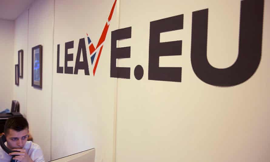 A worker answers a telephone in the office of the Leave.EU campaign