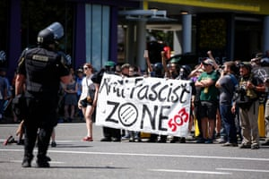 Counterprotesters march in opposition to a rally organized by the far-right group Patriot Prayer in Portland, Oregon.