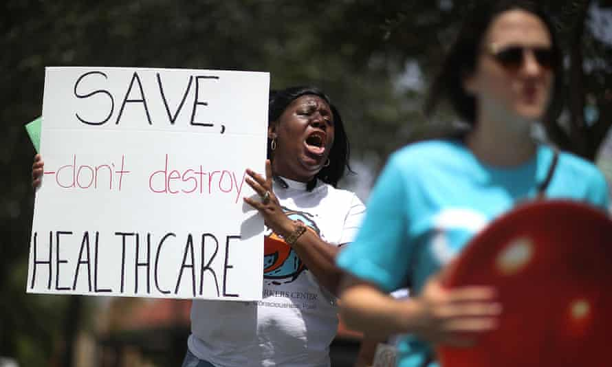 Trenise Bryant protests a bill to replace the Affordable Care Act in 2017.