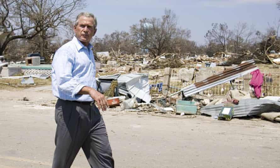 George W Bush visits Biloxi, Mississippi, in September 2005 to survey damage caused by Hurricane Katrina