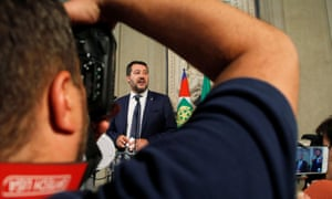 League leader Matteo Salvini speaks to the media after consultations with Sergio Mattarella on Wednesday.