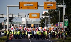 Easyjet staff demonstrate against job cut in Berlin Schoenefeld airport