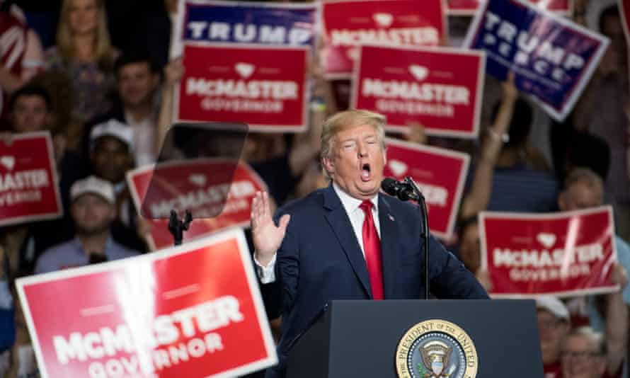 President Donald Trump addresses the crowd during a campaign rally for South Carolina Governor Henry McMaster at Airport High School June 25, 2018 in West Columbia, South Carolina.