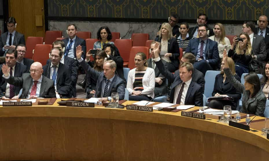 Members of the United Nations Security Council vote on a resolution demanding a 30-day humanitarian cease-fire across Syria.