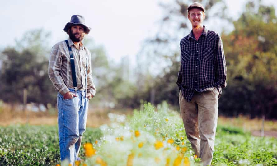 Ryan Power (right) and childhood friend Adam Davidoff run the New Family Farm.