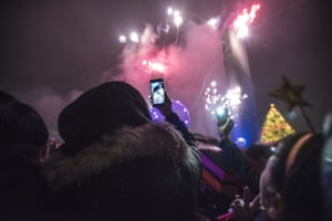 New Year's fireworks at Nathan Phillips Square in Toronto.