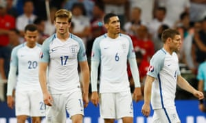 England dejected after Russia's late equaliser.