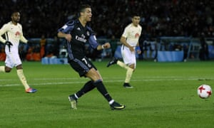 Cristiano Ronaldo scores Real Madrid's second goal in the Club World Cup semi-final against Club America.