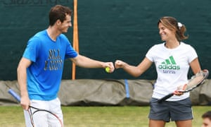 Andy Murray and coach Amélie Mauresmo during practice, June 2014