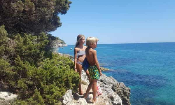 Federerica's children, Giulia and Francesco, at Cape Circeo