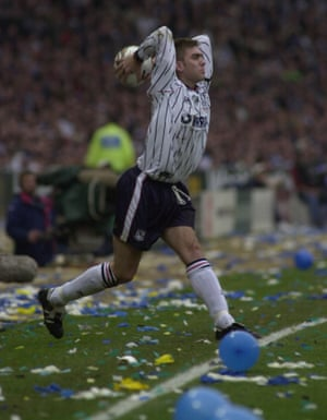Dave Challinor launches a long throw during Tranemere's League Cup final defeat by Leicester City in 2000.