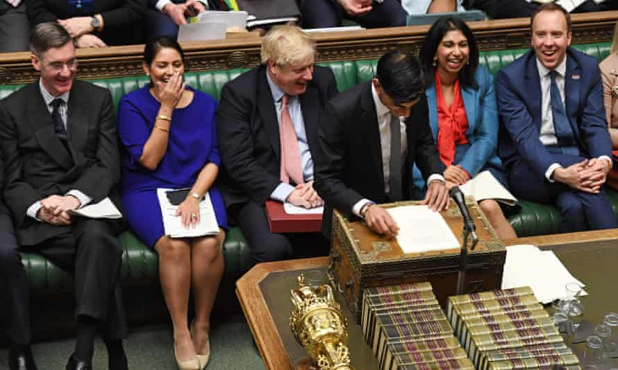 Boris Johnson and Tory frontbenchers in parliament