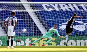 Jamie Vardy (right) scores his second penalty and Leicester's third goal of the game past the West Brom keeper Sam Johnstone.