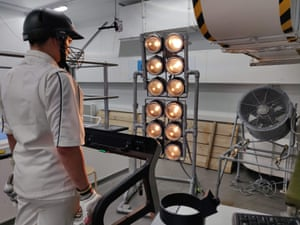 A handout picture released by the British Association for Sustainable Sport and the University of Portsmouth University shows a participant posing during a heat test.