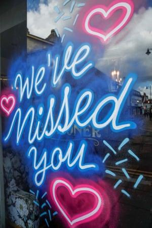 'We've missed you' sign