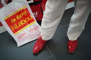 Delegates arrive at the Labour party conference in Liverpool.