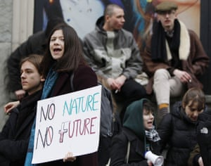 Young people take part in the worldwide climate strike in Warsaw, Poland