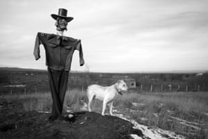 A scarecrow and guard dog watch over the village of Bamut, Chechnya, which was always a rebel stronghold, and was the last village to fall to Russian forces. The entire village was levelled by the Russian military. Bamut is near the border with Ingushetia, to the west of Chechnya. In April 2014, the Chechen president, Ramzan Kadyrov, sent forces on a cross-border raid into Ingushetia. A few years previously, he had sent forces on a similar raid into Dagestan, to the east. Kadyrov's pan-Caucasus ambitions are making his neighbours uneasy