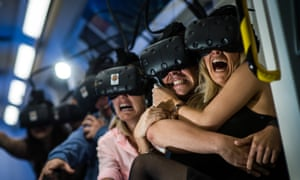 Ghost train passengers with the £600 VR headsets