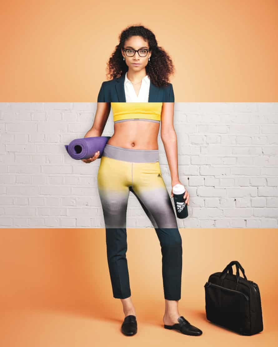 Woman wearing suit and yoga kit