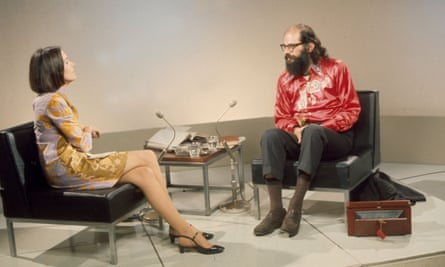 Joan Bakewell and the American poet Allen Ginsberg on Late Night Line-Up in the late 1960s.