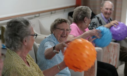 Residents attend the chair-based exercise lass at Priory View sheltered accommodation in Dunstable, Bedfordshire