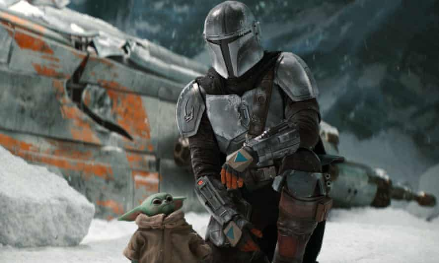 A scene from The Mandalorian, which is shown on Disney+.