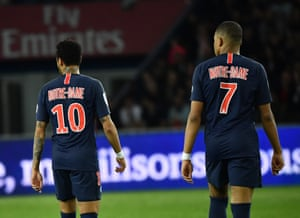 Paris, France Neymar and Kylian Mbappe of Paris Saint-Germain are seen with 'Notre-Dame' jerseys during the Ligue 1 football match between PSG and Monaco