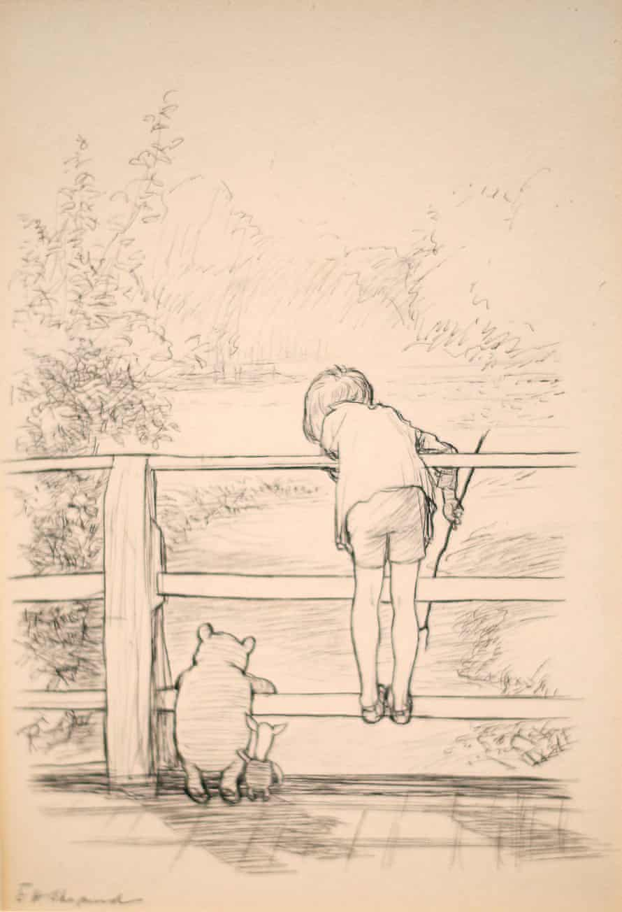 A drawing by EH Shepard of Winnie the Pooh and friends playing Poohsticks, which featured in the book The House at Pooh Corner.
