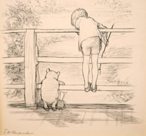 Winnie the Pooh playing Poohsticks with Piglet and Christopher Robin, in an illustration by EH Shepard. <br>