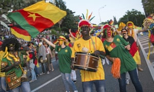 A parade backed by the Russian government in Sochi in May 2017, to mark Cameroon's participation in a Confederations Cup match there, featuring black-face, wigs and bananas