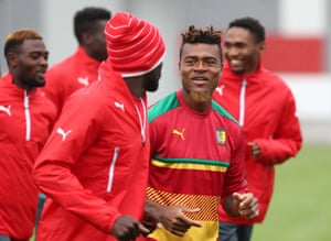 Cameroon football team training ahead of 2017 FIFA Confederations Cup match against Chile