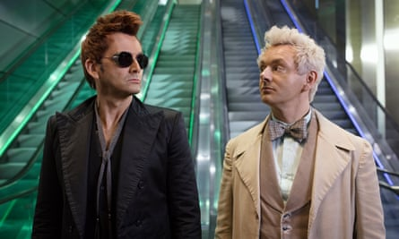 Neil Tennant and Michael Sheen in Good Omens.