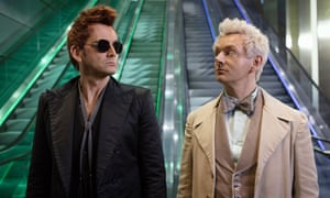 David Tennant and Michael Sheen in Good Omens.