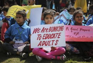 Young people take part in the worldwide climate strike in New Delhi, India