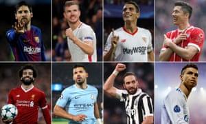 Clockwise from top left: Lionel Messi, Edin Dzeko, Wissam Ben Yedder, Robert Lewandowski, Cristiano Ronaldo, Gonzalo Higuaín, Sergio Agüero and Mohamed Salah.