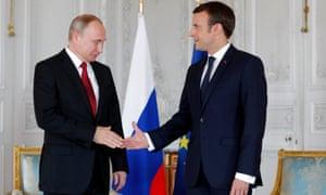 Putin and Macron at the Chateau de Versailles.