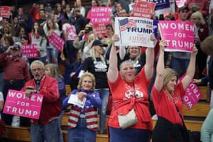 Supporters cheer during a campaign rally for Republican presidential nominee Donald Trump at the W.L. Zorn Arena November 1, 2016 in Eau Claire, Wisconsin. Wisconsin Governor Scott Walker, who ran against Trump for the Republican nomination and eventually dropped out, introduced Trump and praised him.