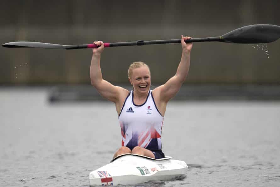Britain's Laura Sugar celebrates.