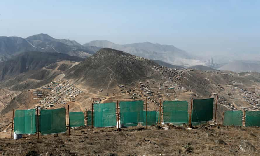 Nets set up by a group of community leaders called 'Peruvians Without Water' are used to trap water from the moisture in fog.