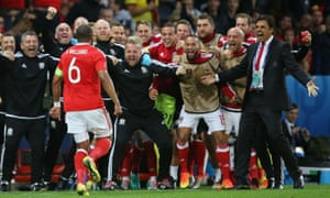 Wales celebrate beating Belgium
