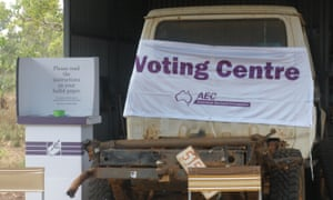 A voting booth at the Bulgul cattle station deep in the Northern Territory's Arnhem Land.