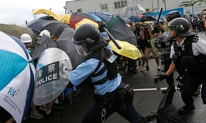 Protesters blocked several key streets in the city overnight, and are in a standoff with riot police.