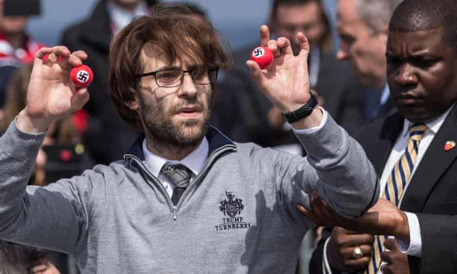 'Get him out of here' … Brodkin disrupts Trump's Turnberry opening with swastika golfballs.