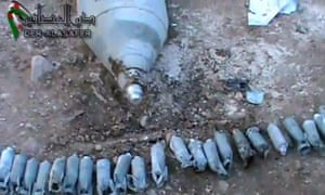 Cluster bombs used in Deir Essafir, Syria, from Syrian Research and Communication Centre video.