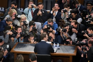Facebook CEO Mark Zuckerberg arrives to testify before a joint hearing of the Senate Judiciary and Commerce Committees on the protection of user data 10 April 2018.