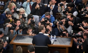 Facebook CEO Mark Zuckerberg testifies at a joint hearing of the Senate judiciary and commerce committees, April 2018