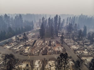 The charred remains of buidlings in Pine Grove mobile home park in Paradise, US